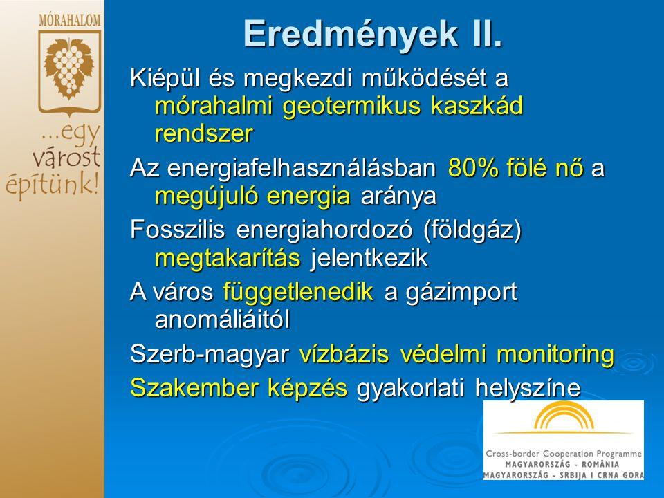 Eredmények II. Kiépül és megkezdi működését a mórahalmi geotermikus kaszkád rendszer Az energiafelhasználásban 80% fölé nő a megújuló energia aránya F
