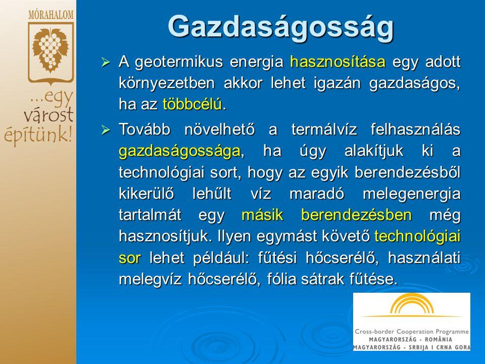 Gazdaságosság  A geotermikus energia hasznosítása egy adott környezetben akkor lehet igazán gazdaságos, ha az többcélú.  Tovább növelhető a termálví
