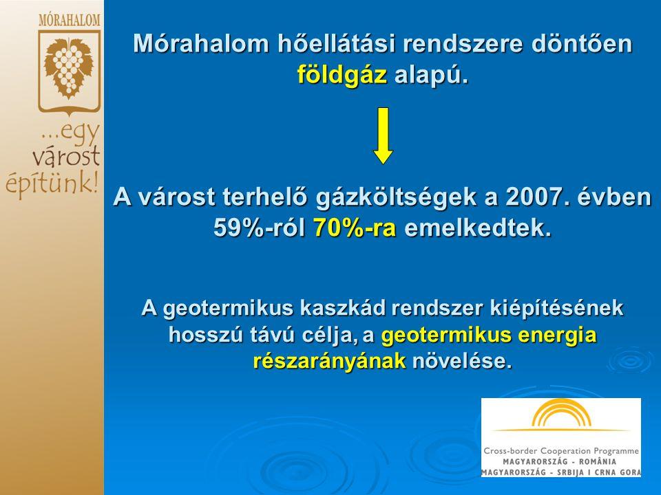 Mórahalom hőellátási rendszere döntően földgáz alapú. A várost terhelő gázköltségek a 2007. évben 59%-ról 70%-ra emelkedtek. A geotermikus kaszkád ren
