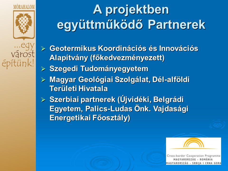  Geotermikus Koordinációs és Innovációs Alapítvány (főkedvezményezett)  Szegedi Tudományegyetem  Magyar Geológiai Szolgálat, Dél-alföldi Területi Hivatala  Szerbiai partnerek (Újvidéki, Belgrádi Egyetem, Palics-Ludas Önk.