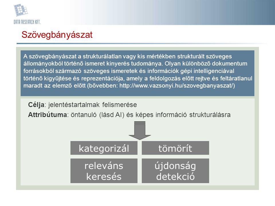 Szövegbányászat A szövegbányászat a strukturálatlan vagy kis mértékben strukturált szöveges állományokból történő ismeret kinyerés tudománya. Olyan kü