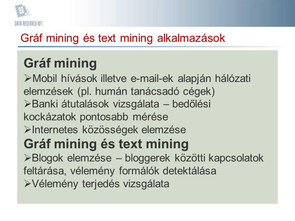 Gráf mining és text mining alkalmazások Gráf mining  Mobil hívások illetve e-mail-ek alapján hálózati elemzések (pl. humán tanácsadó cégek)  Banki á