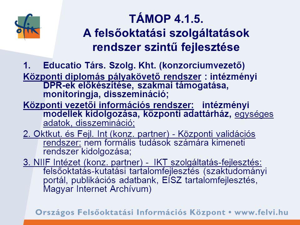TÁMOP 4.1.5.A felsőoktatási szolgáltatások rendszer szintű fejlesztése 1.Educatio Társ.