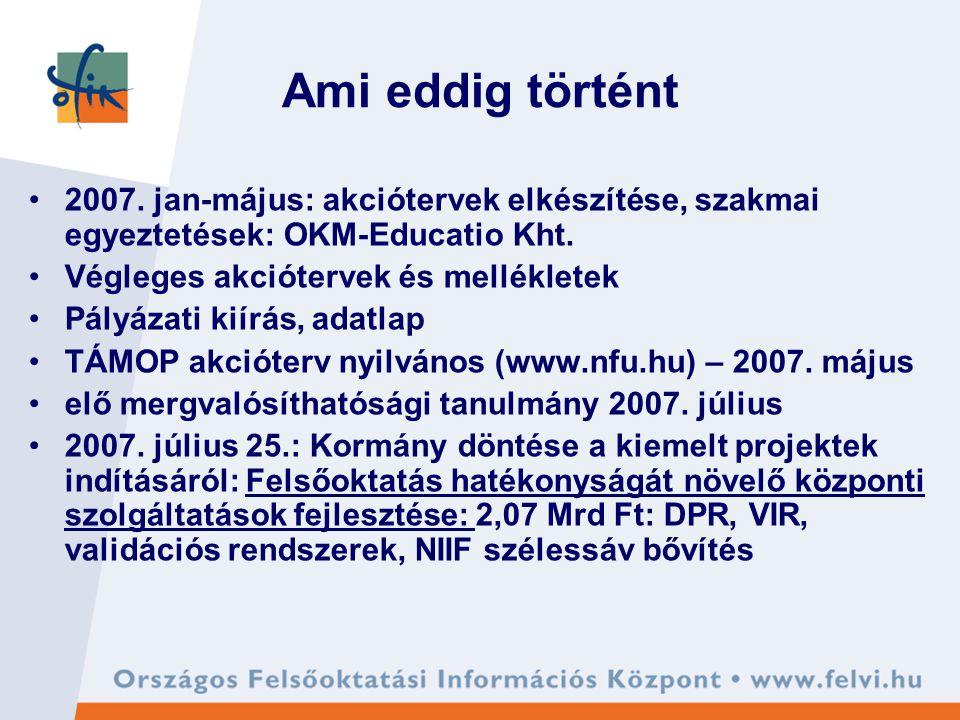 Ami eddig történt 2007. jan-május: akciótervek elkészítése, szakmai egyeztetések: OKM-Educatio Kht.