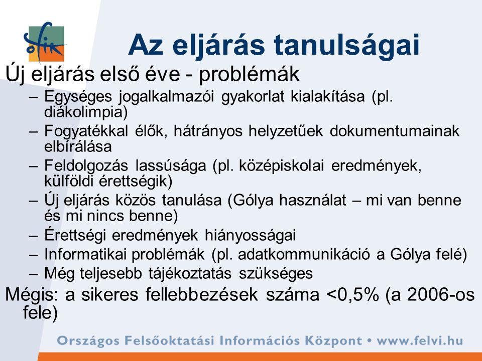 Az eljárás tanulságai Új eljárás első éve - problémák –Egységes jogalkalmazói gyakorlat kialakítása (pl.