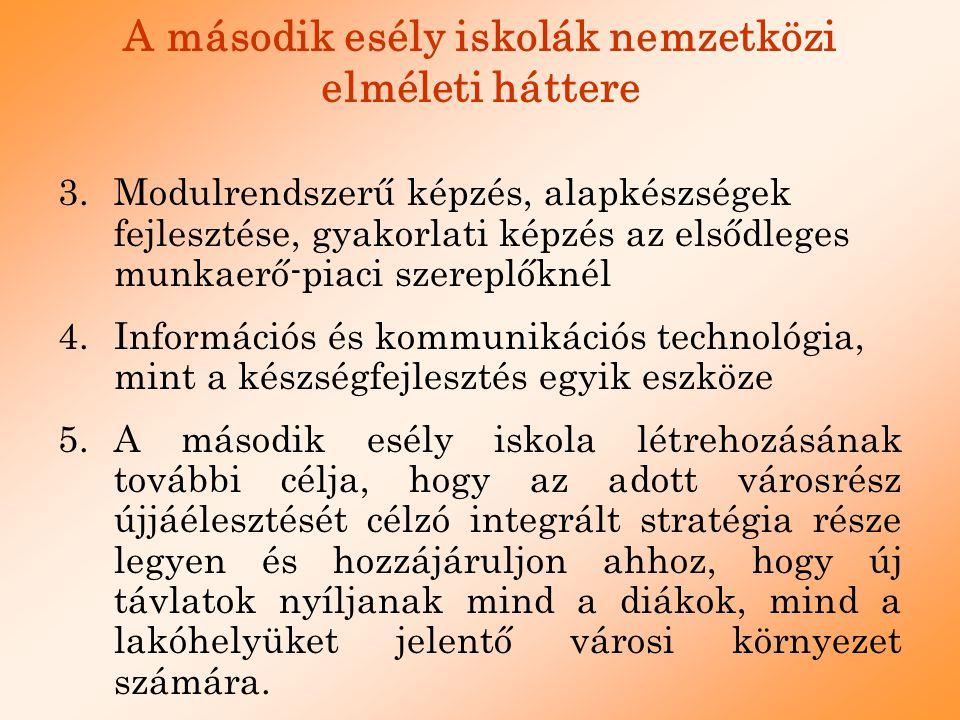 A második esély iskolák nemzetközi elméleti háttere 3.Modulrendszerű képzés, alapkészségek fejlesztése, gyakorlati képzés az elsődleges munkaerő-piaci