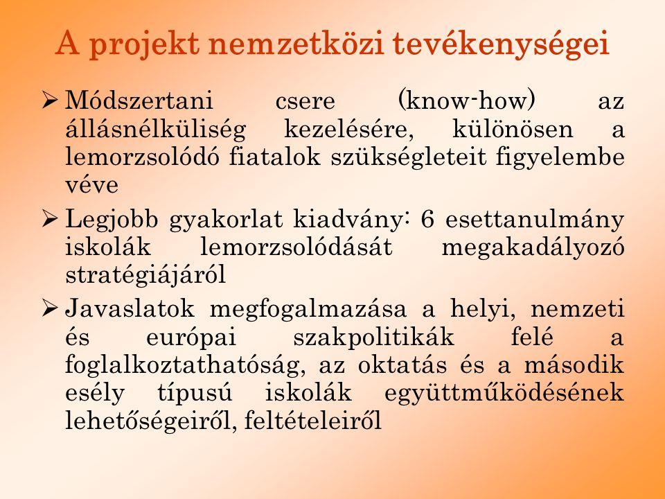 A projekt nemzetközi tevékenységei  Módszertani csere (know-how) az állásnélküliség kezelésére, különösen a lemorzsolódó fiatalok szükségleteit figye