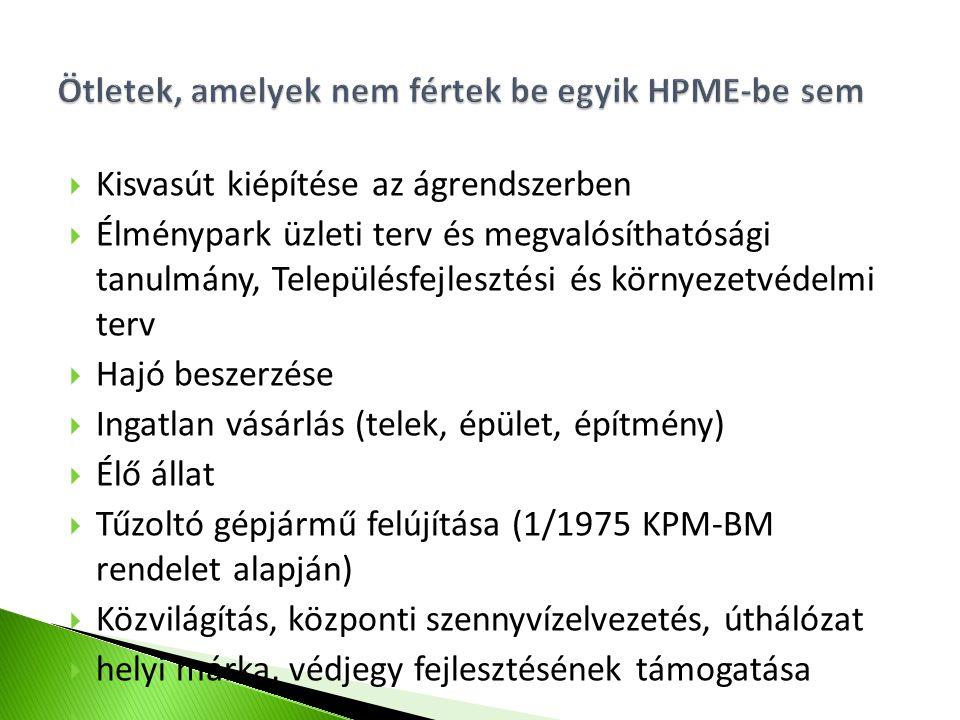  Kisvasút kiépítése az ágrendszerben  Élménypark üzleti terv és megvalósíthatósági tanulmány, Településfejlesztési és környezetvédelmi terv  Hajó beszerzése  Ingatlan vásárlás (telek, épület, építmény)  Élő állat  Tűzoltó gépjármű felújítása (1/1975 KPM-BM rendelet alapján)  Közvilágítás, központi szennyvízelvezetés, úthálózat  helyi márka, védjegy fejlesztésének támogatása 