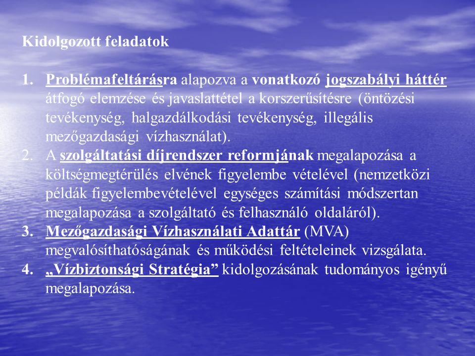 Kidolgozott feladatok 1.Problémafeltárásra alapozva a vonatkozó jogszabályi háttér átfogó elemzése és javaslattétel a korszerűsítésre (öntözési tevékenység, halgazdálkodási tevékenység, illegális mezőgazdasági vízhasználat).