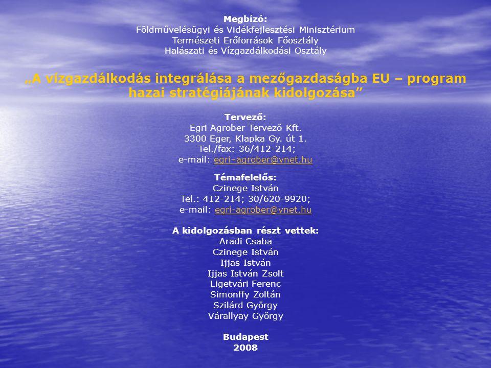 """Megbízó: Földművelésügyi és Vidékfejlesztési Minisztérium Természeti Erőforrások Főosztály Halászati és Vízgazdálkodási Osztály """"A vízgazdálkodás integrálása a mezőgazdaságba EU – program hazai stratégiájának kidolgozása Tervező: Egri Agrober Tervező Kft."""