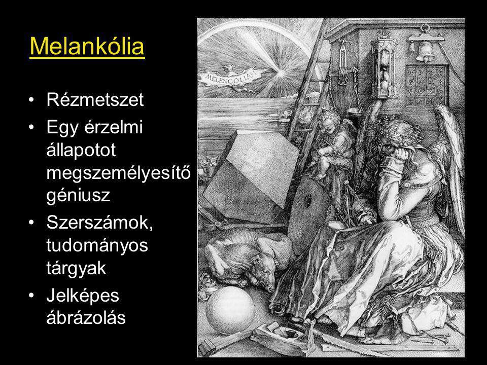Melankólia Rézmetszet Egy érzelmi állapotot megszemélyesítő géniusz Szerszámok, tudományos tárgyak Jelképes ábrázolás