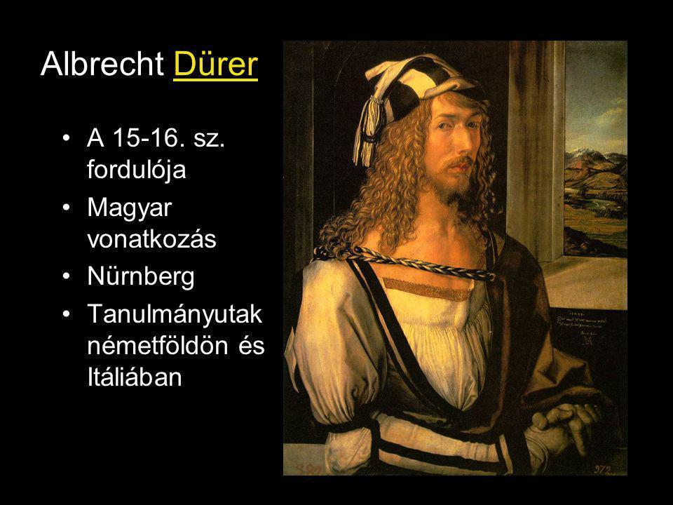 Albrecht Dürer A 15-16. sz. fordulója Magyar vonatkozás Nürnberg Tanulmányutak németföldön és Itáliában