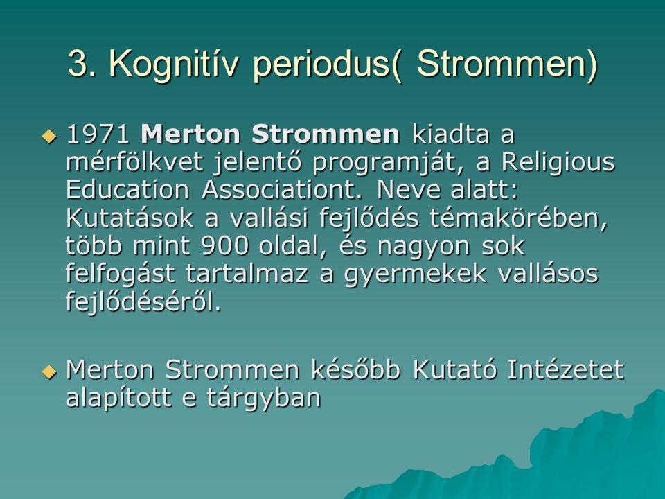 3. Kognitív periodus( Strommen)  1971 Merton Strommen kiadta a mérfölkvet jelentő programját, a Religious Education Associationt. Neve alatt: Kutatás