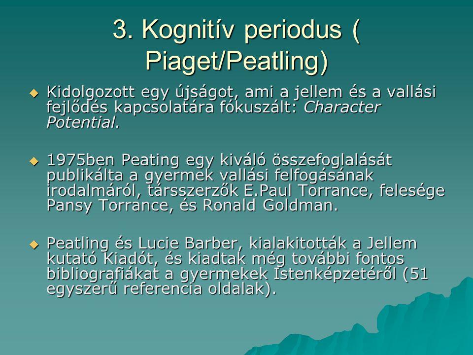3. Kognitív periodus ( Piaget/Peatling)  Kidolgozott egy újságot, ami a jellem és a vallási fejlődés kapcsolatára fókuszált: Character Potential.  1