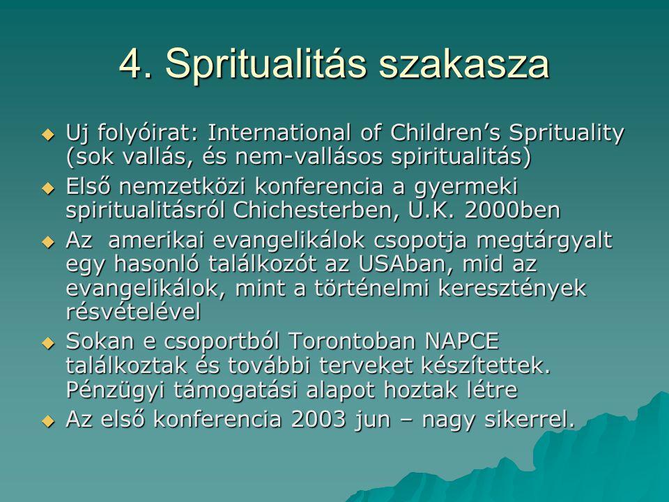 4. Spritualitás szakasza  Uj folyóirat: International of Children's Sprituality (sok vallás, és nem-vallásos spiritualitás)  Első nemzetközi konfere
