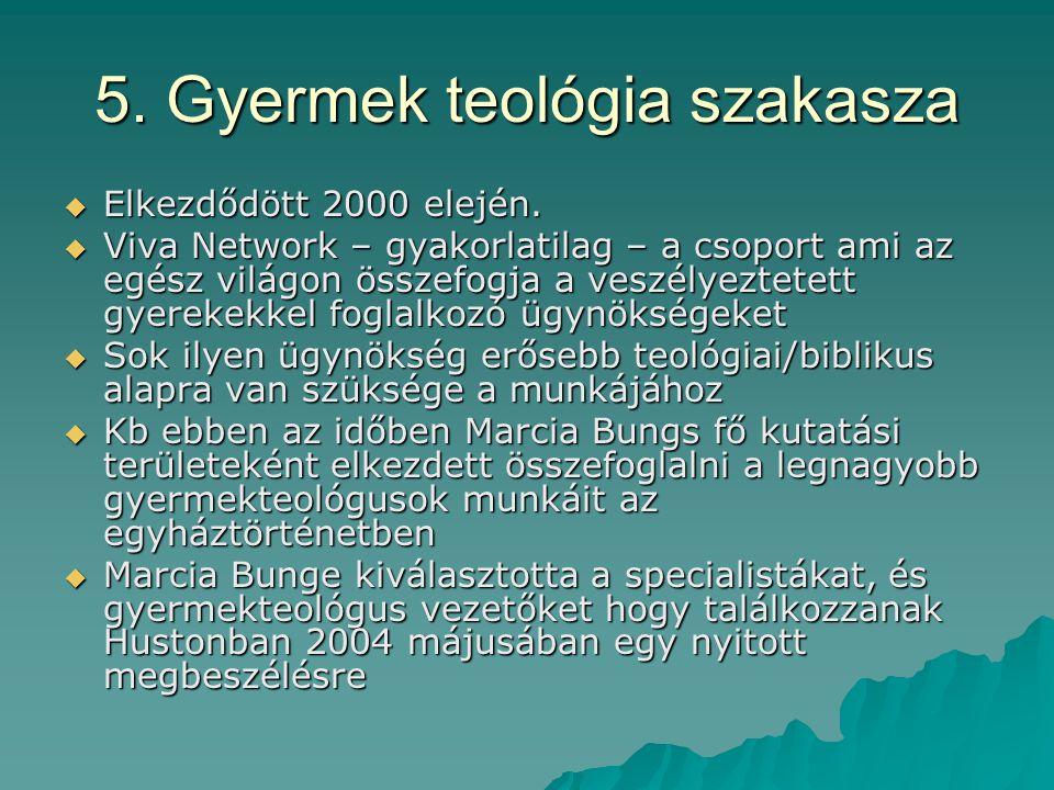 5. Gyermek teológia szakasza  Elkezdődött 2000 elején.  Viva Network – gyakorlatilag – a csoport ami az egész világon összefogja a veszélyeztetett g