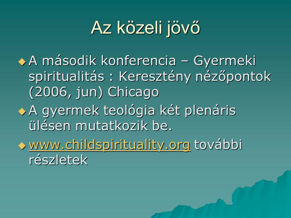 Az közeli jövő  A második konferencia – Gyermeki spiritualitás : Keresztény nézőpontok (2006, jun) Chicago  A gyermek teológia két plenáris ülésen m