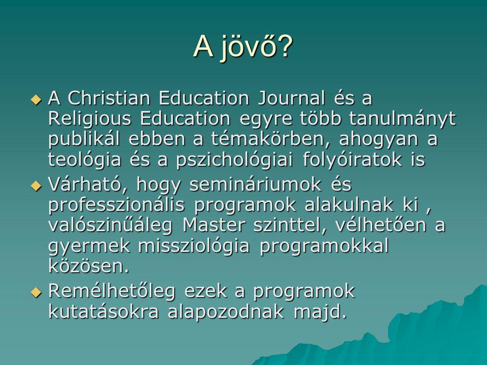 A jövő?  A Christian Education Journal és a Religious Education egyre több tanulmányt publikál ebben a témakörben, ahogyan a teológia és a pszichológ