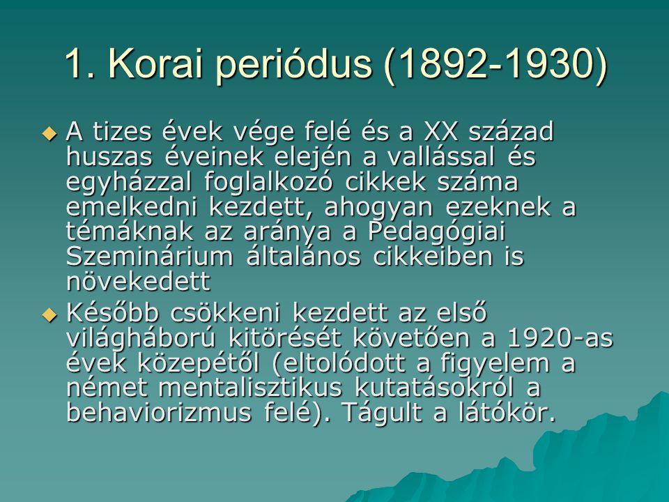 1. Korai periódus (1892-1930)  A tizes évek vége felé és a XX század huszas éveinek elején a vallással és egyházzal foglalkozó cikkek száma emelkedni