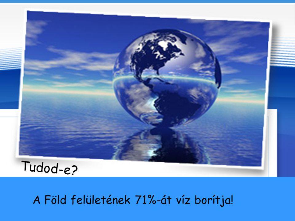 1 2 3 A víz előfordulása a Földön 1.) Óceánok 97% 2.) Folyók és tavak 1% 3.) Gleccserek 2%