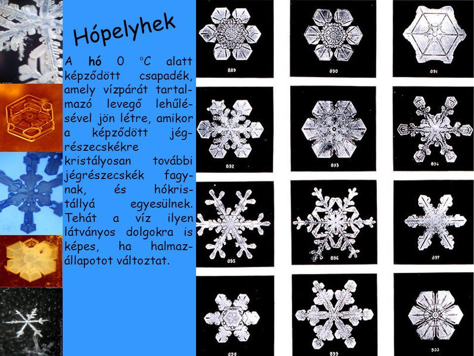 A hó 0 °C alatt képződött csapadék, amely vízpárát tartal- mazó levegő lehűlé- sével jön létre, amikor a képződött jég- részecskékre kristályosan tová
