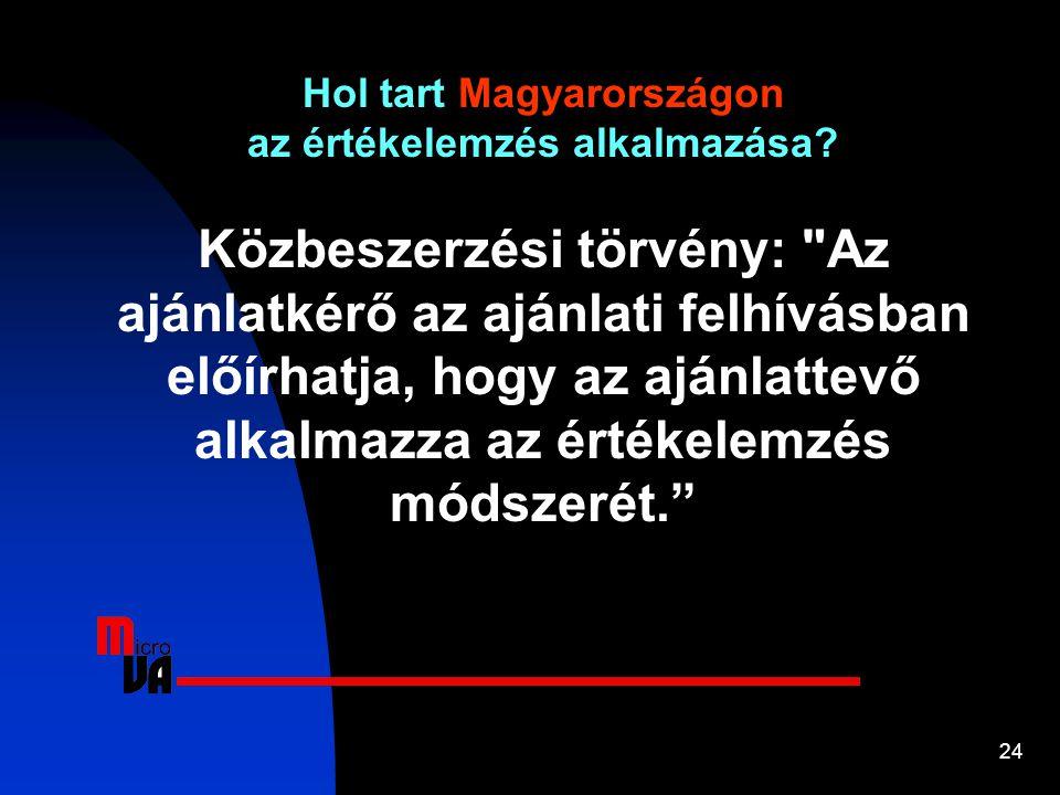 24 Hol tart Magyarországon az értékelemzés alkalmazása? Közbeszerzési törvény: