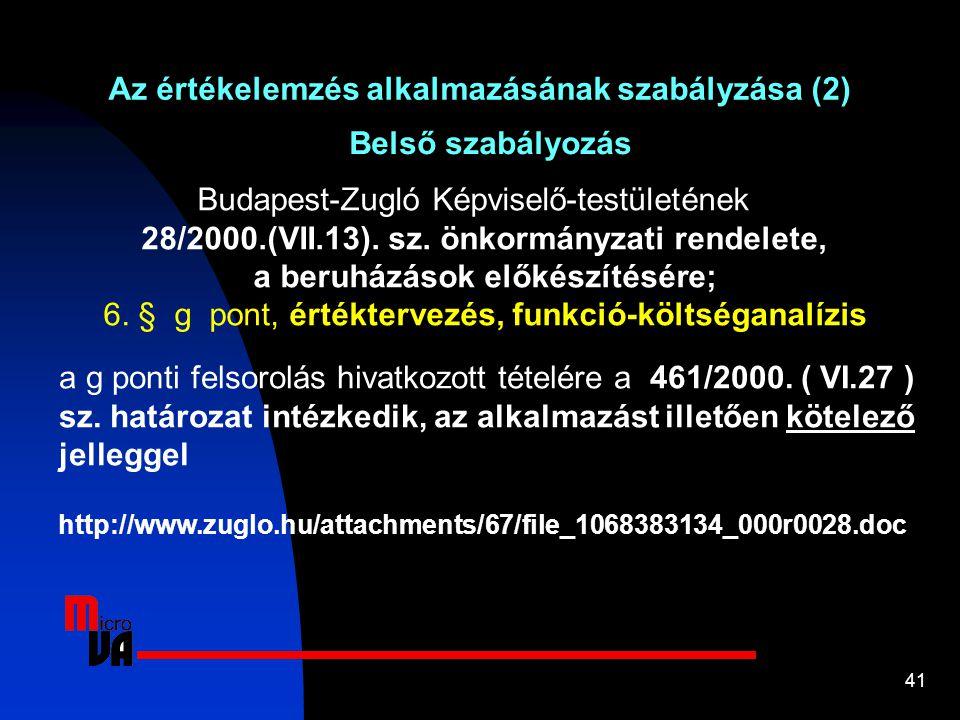 41 Belső szabályozás Az értékelemzés alkalmazásának szabályzása (2) Budapest-Zugló Képviselő-testületének 28/2000.(VII.13). sz. önkormányzati rendelet