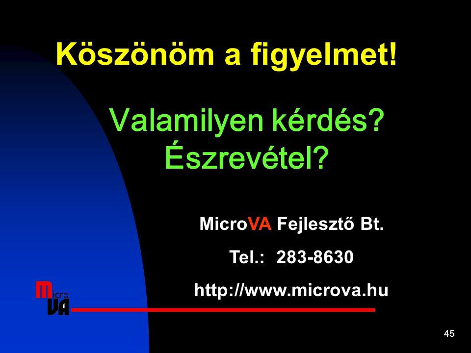 45 Valamilyen kérdés? Észrevétel? Köszönöm a figyelmet! MicroVA Fejlesztő Bt. Tel.: 283-8630 http://www.microva.hu