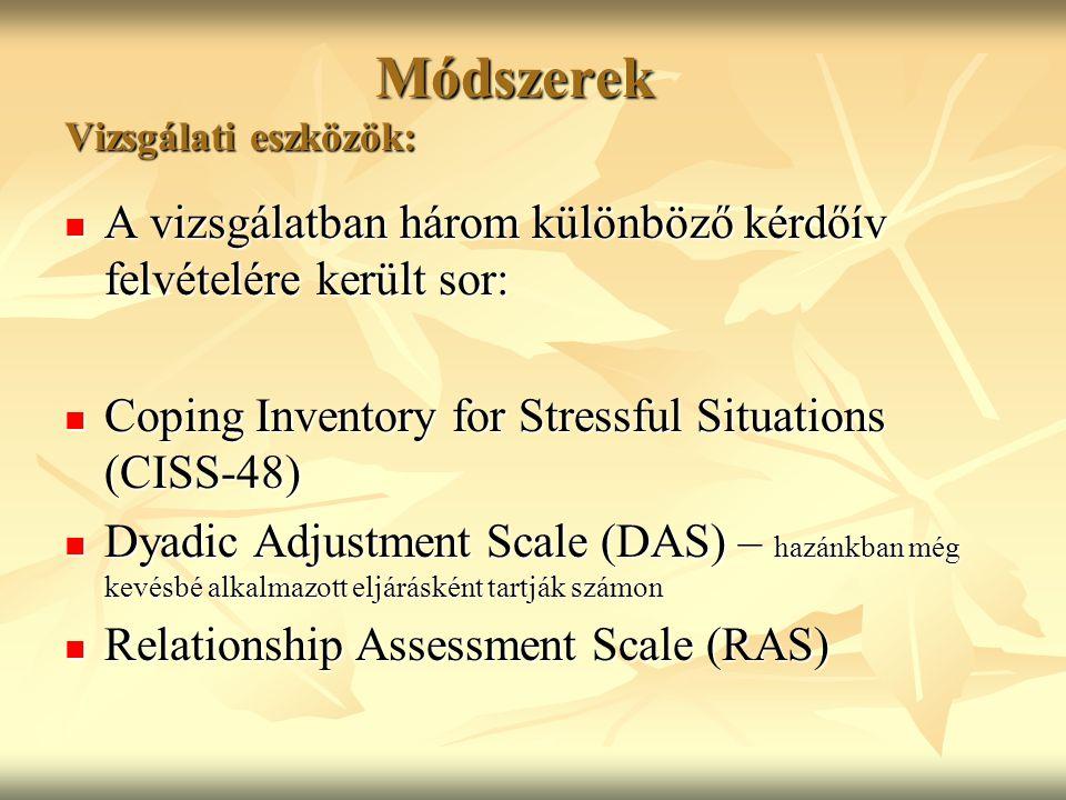 Módszerek Vizsgálati eszközök: Módszerek Vizsgálati eszközök: A vizsgálatban három különböző kérdőív felvételére került sor: A vizsgálatban három külö