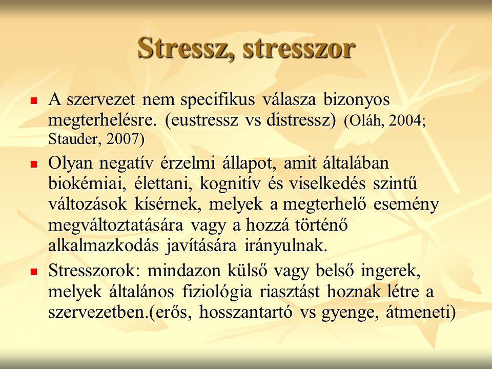 Stressz, stresszor A szervezet nem specifikus válasza bizonyos megterhelésre. (eustressz vs distressz) (Oláh, 2004; Stauder, 2007) A szervezet nem spe
