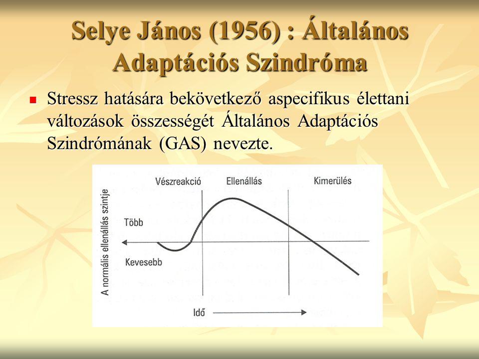 Selye János (1956) : Általános Adaptációs Szindróma Stressz hatására bekövetkező aspecifikus élettani változások összességét Általános Adaptációs Szin