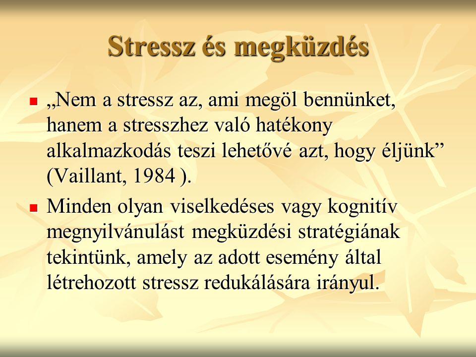 """Stressz és megküzdés """"Nem a stressz az, ami megöl bennünket, hanem a stresszhez való hatékony alkalmazkodás teszi lehetővé azt, hogy éljünk"""" (Vaillant"""