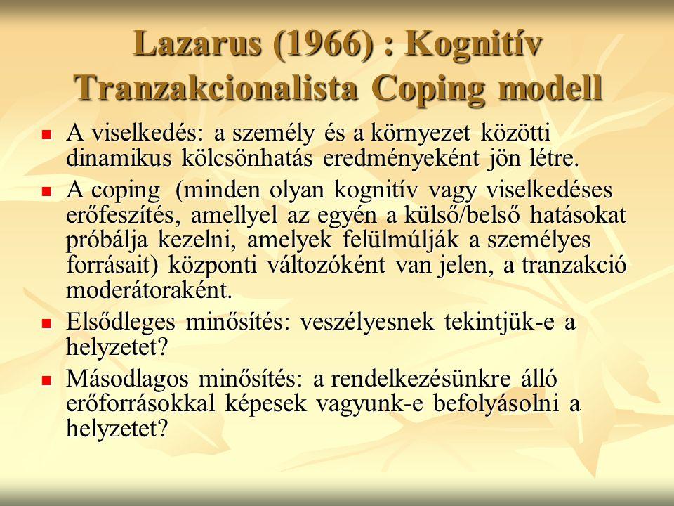 Lazarus (1966) : Kognitív Tranzakcionalista Coping modell A viselkedés: a személy és a környezet közötti dinamikus kölcsönhatás eredményeként jön létr