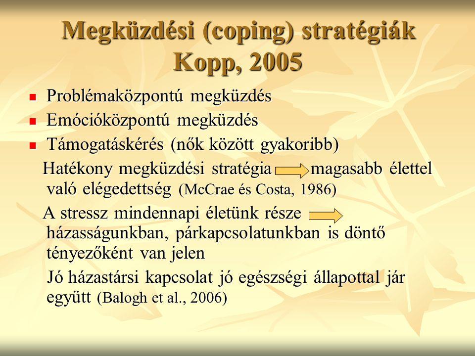 Megküzdési (coping) stratégiák Kopp, 2005 Problémaközpontú megküzdés Problémaközpontú megküzdés Emócióközpontú megküzdés Emócióközpontú megküzdés Támo