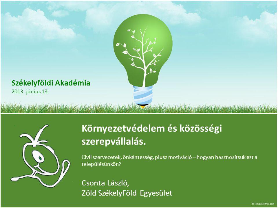 Székelyföldi Akadémia 2013. június 13. Környezetvédelem és közösségi szerepvállalás.