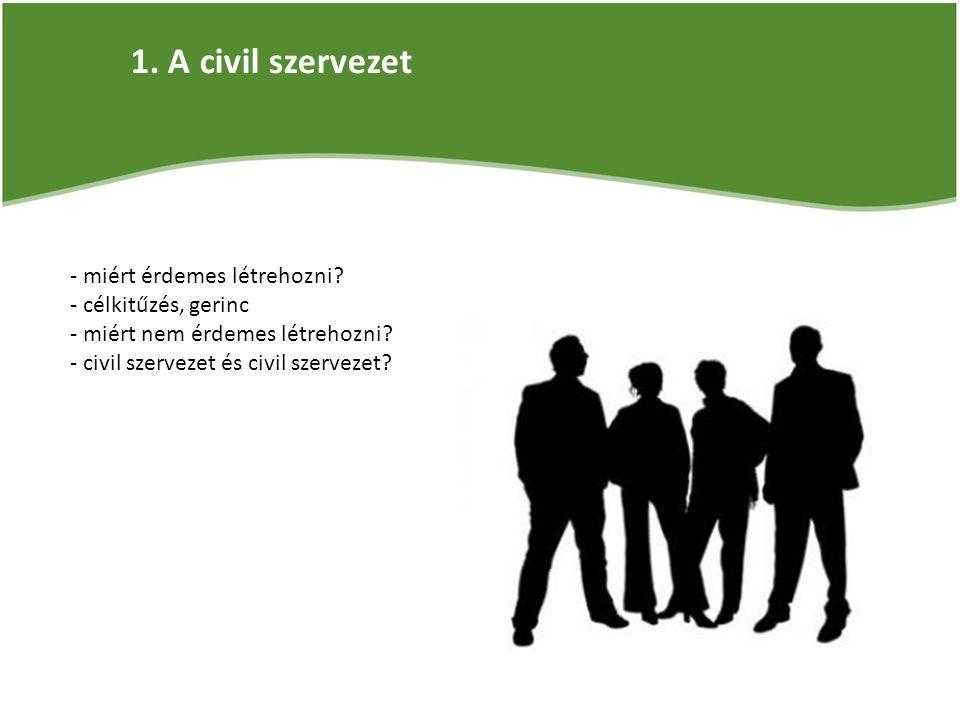 1. A civil szervezet - miért érdemes létrehozni.