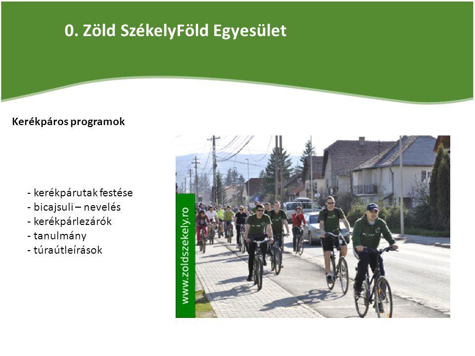 0. Zöld SzékelyFöld Egyesület Kerékpáros programok - kerékpárutak festése - bicajsuli – nevelés - kerékpárlezárók - tanulmány - túraútleírások