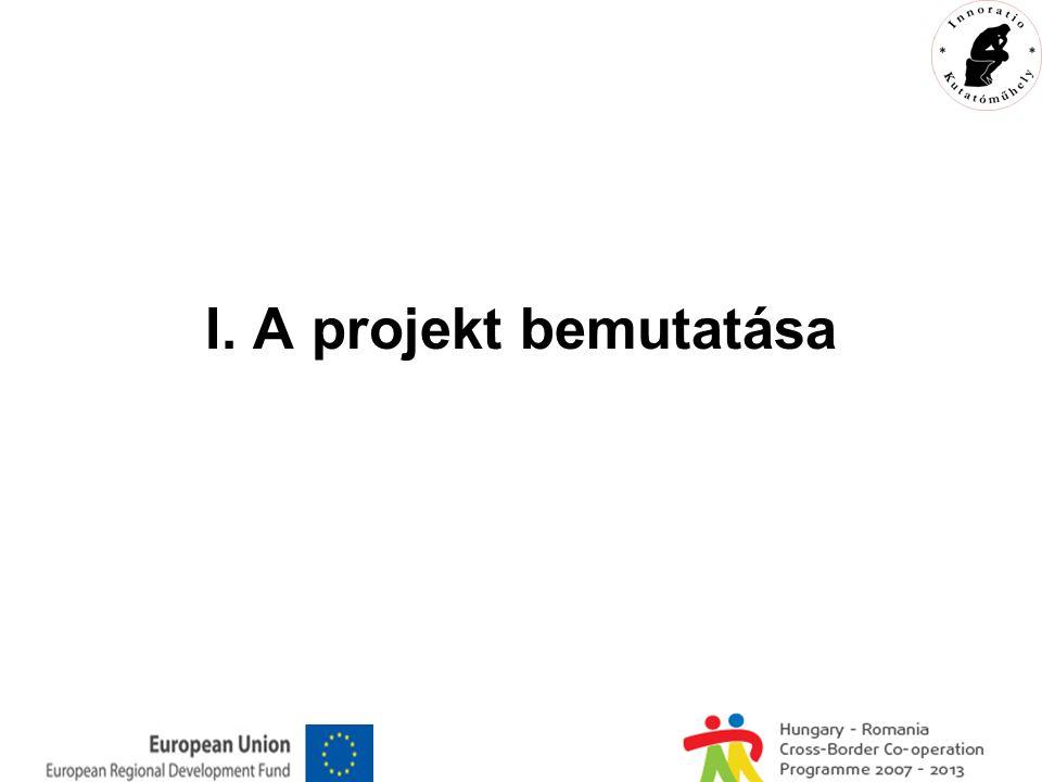 A projektgenerálás folyamata Aktuális téma hiánypótló feldolgozása határmenti közös együttműködésben kutatási ötlet ↓ projekt ötlet ↓ pályázat elkészítése és beadása (2009.