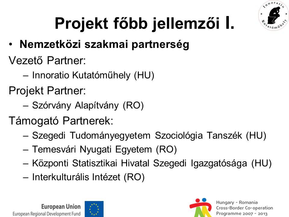 Projekt főbb jellemzői II.Időtartam: 2009. szeptember-2010.