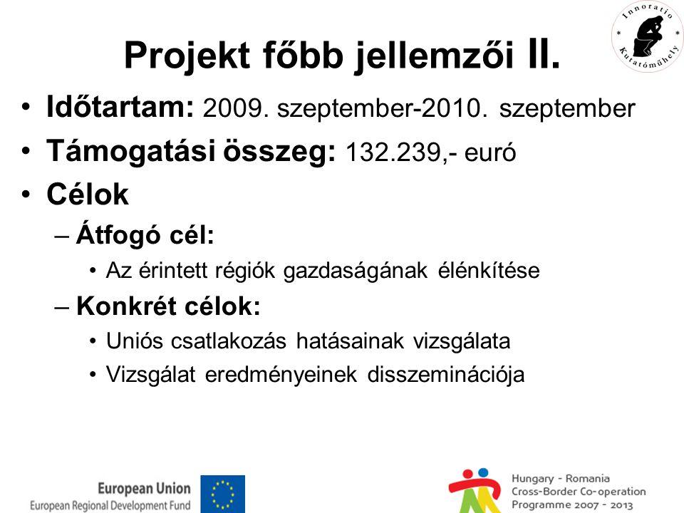 Projekt főbb jellemzői II. Időtartam: 2009. szeptember-2010.