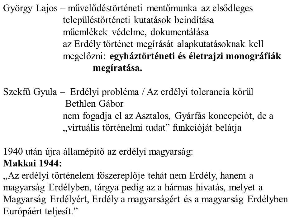 György Lajos – művelődéstörténeti mentőmunka az elsődleges településtörténeti kutatások beindítása műemlékek védelme, dokumentálása az Erdély történet