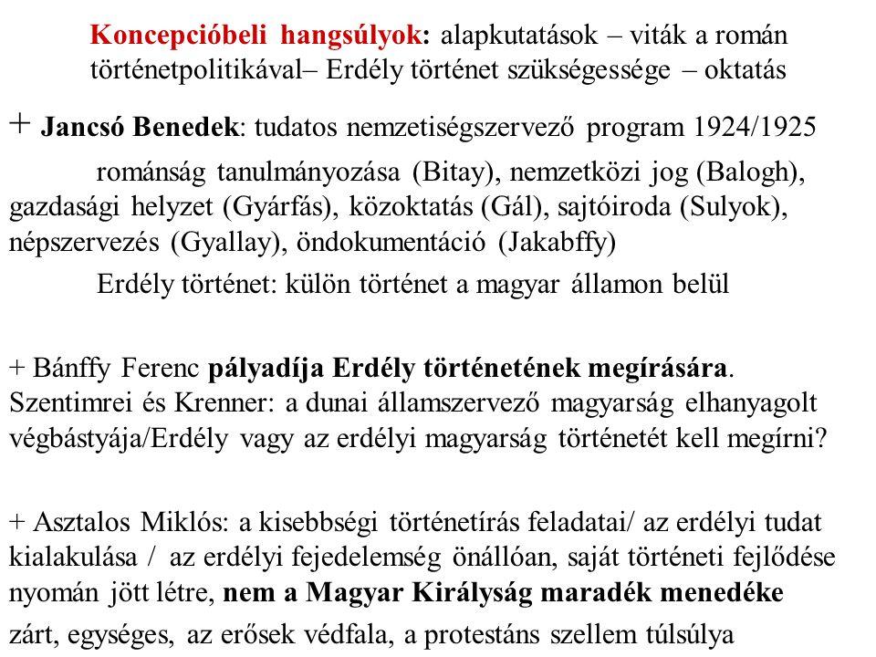 Koncepcióbeli hangsúlyok: alapkutatások – viták a román történetpolitikával– Erdély történet szükségessége – oktatás + Jancsó Benedek: tudatos nemzetiségszervező program 1924/1925 románság tanulmányozása (Bitay), nemzetközi jog (Balogh), gazdasági helyzet (Gyárfás), közoktatás (Gál), sajtóiroda (Sulyok), népszervezés (Gyallay), öndokumentáció (Jakabffy) Erdély történet: külön történet a magyar államon belül + Bánffy Ferenc pályadíja Erdély történetének megírására.