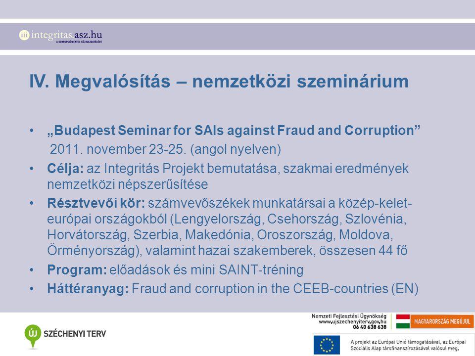 """IV. Megvalósítás – nemzetközi szeminárium """"Budapest Seminar for SAIs against Fraud and Corruption"""" 2011. november 23-25. (angol nyelven) Célja: az Int"""