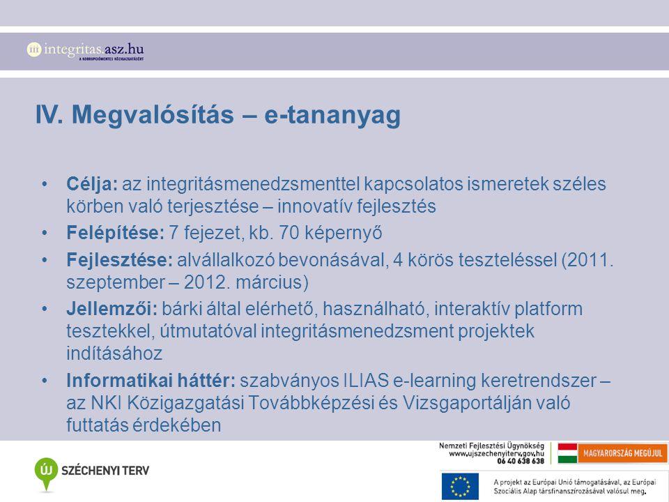 IV. Megvalósítás – e-tananyag Célja: az integritásmenedzsmenttel kapcsolatos ismeretek széles körben való terjesztése – innovatív fejlesztés Felépítés