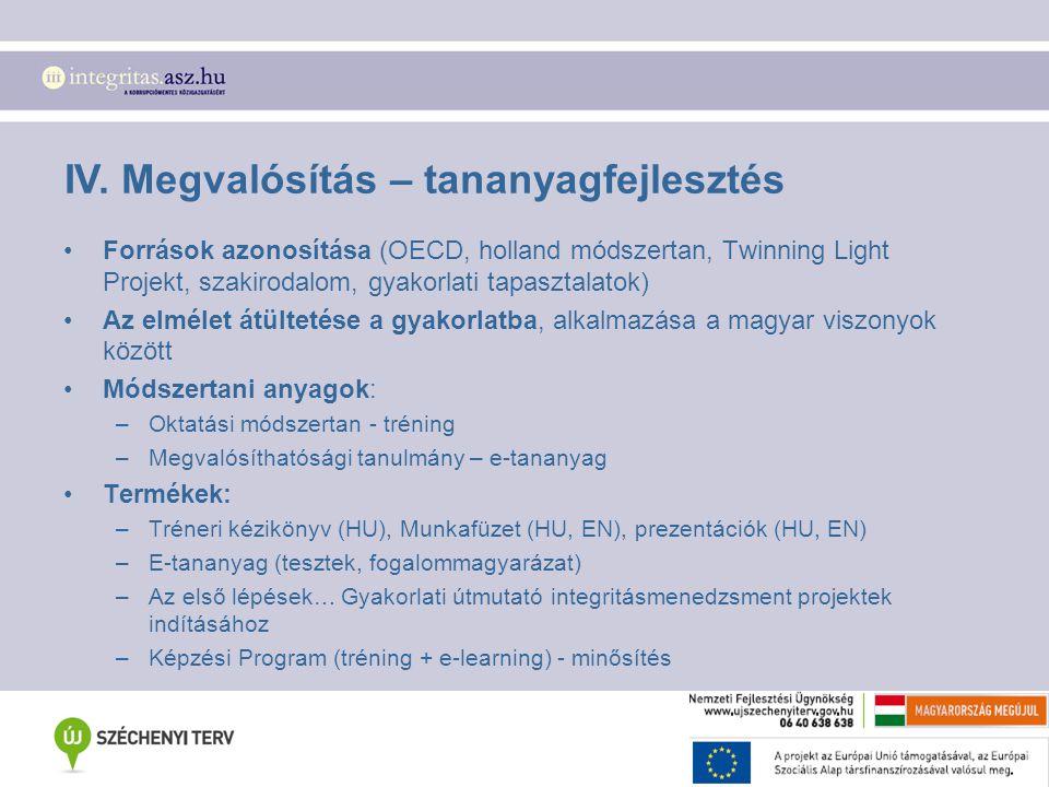 IV. Megvalósítás – tananyagfejlesztés Források azonosítása (OECD, holland módszertan, Twinning Light Projekt, szakirodalom, gyakorlati tapasztalatok)