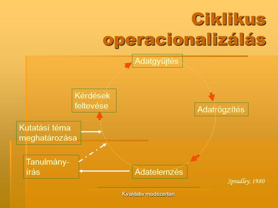 Kvalitatív módszertan Ciklikus operacionalizálás Kérdések feltevése Adatgyűjtés Tanulmány- írás Kutatási téma meghatározása Adatrögzítés Adatelemzés S