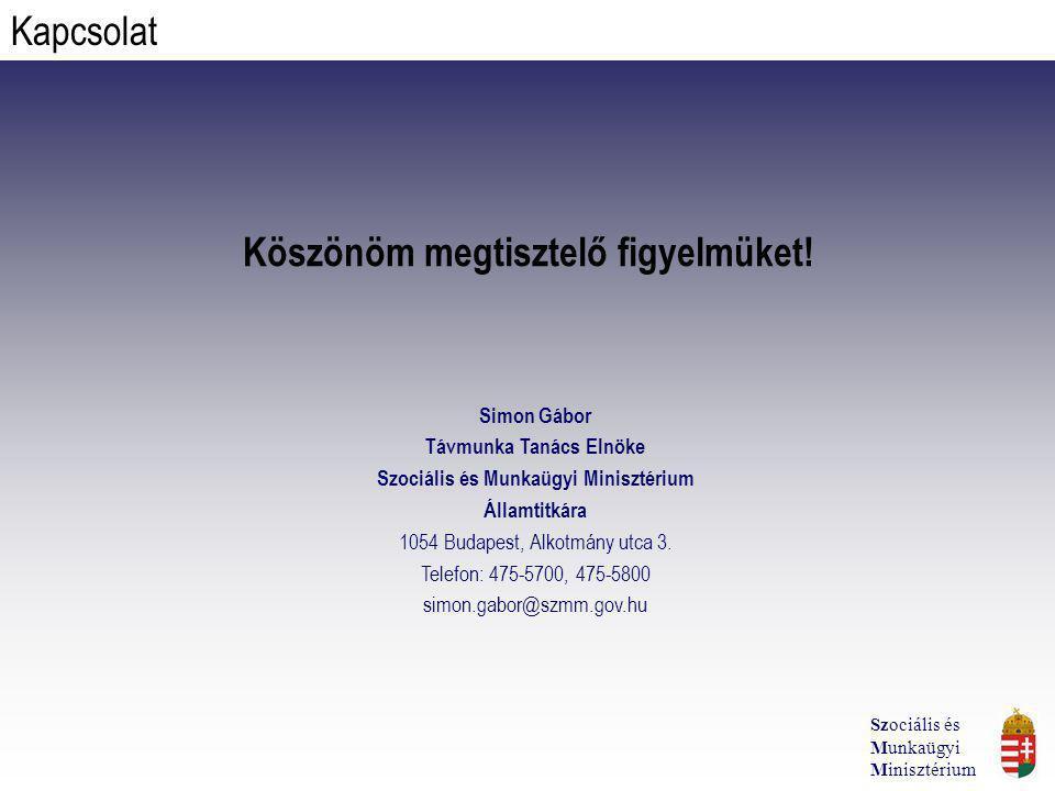 Köszönöm megtisztelő figyelmüket! Simon Gábor Távmunka Tanács Elnöke Szociális és Munkaügyi Minisztérium Államtitkára 1054 Budapest, Alkotmány utca 3.