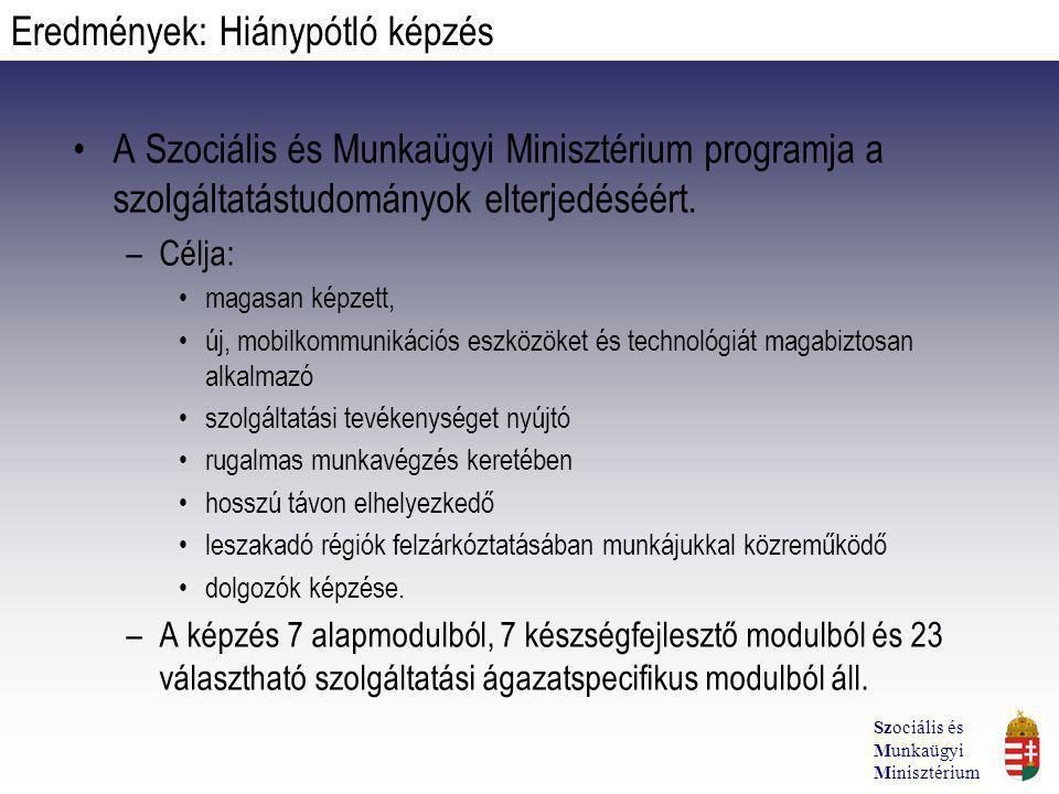 A Szociális és Munkaügyi Minisztérium programja a szolgáltatástudományok elterjedéséért. –Célja: magasan képzett, új, mobilkommunikációs eszközöket és