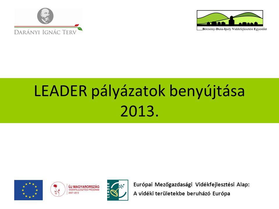 LEADER pályázatok benyújtása 2013. Európai Mezőgazdasági Vidékfejlesztési Alap: A vidéki területekbe beruházó Európa