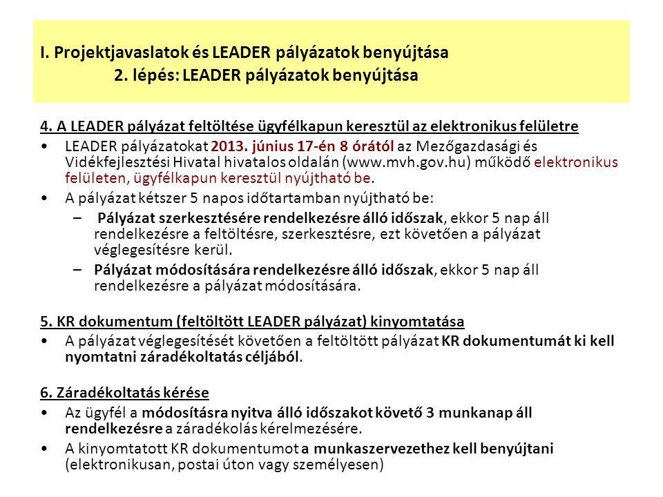 I. Projektjavaslatok és LEADER pályázatok benyújtása 2. lépés: LEADER pályázatok benyújtása 4. A LEADER pályázat feltöltése ügyfélkapun keresztül az e